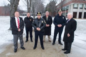 Police Chiefs (left to right) Paul Gallagher, North Andover, James Fitzpatrick, Lawrence, Joe Solomon, Methuen, Alan DiNaro, Haverhill, Kevin Oullet, Amesbury, and George Moriarty, NECC executive director of workforce and corporate relations