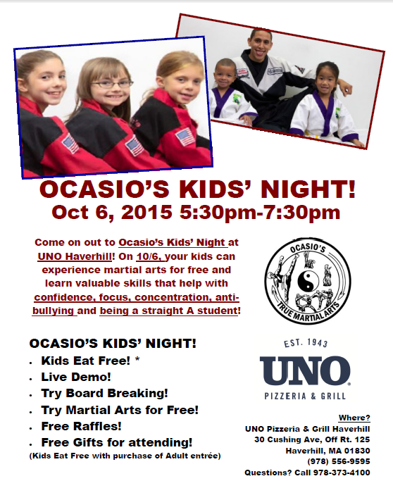 Ocasio's and UNO Haverhill team up for Kids' Night!