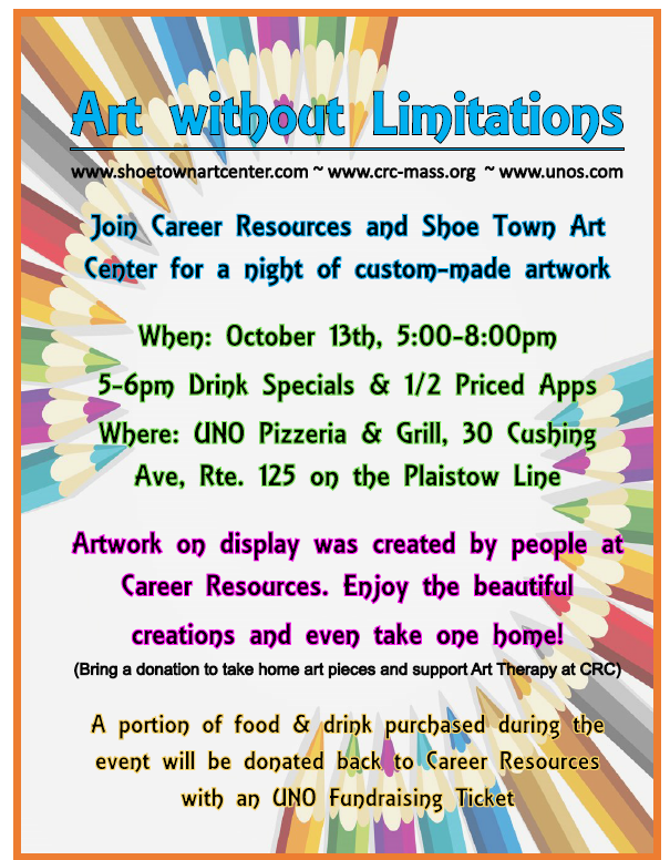 """CAREER RESOURCES AND SHOE TOWN ART CENTER HOST """"ART WITHOUT LIMITATIONS"""" EVENT AT UNO PIZZERIA & GRILL"""