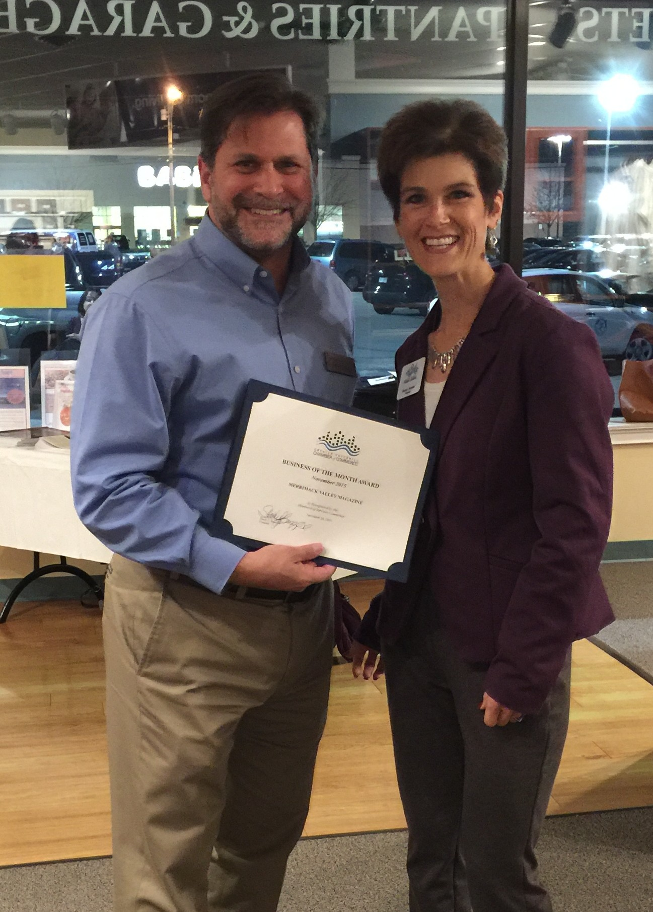 NOVEMBER BUSINESS OF THE MONTH DISTINCTION BESTOWED UPON MERRIMACK VALLEY MAGAZINE