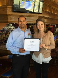 "Ashleigh Bergh, Membership Coordinator presents Casa Blanca Restaurant owner, Jorge ""Alex"" Vargas with the Business of the Month Certificate on a recent lunch visit to the Haverhill store."