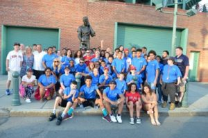Nearly 70 members of the Boys & Girls Club of Greater Haverhill and the Boys & Girls Club of Lawrence combined were treated to a Red Sox game on July 21, thanks to the Jaffarian Youth in Motion Fund, which promotes and funds activities and experiences for local youth that build life skills including teamwork, sportsmanship and discipline.  Coach buses took youth to Fenway Park for an exciting game in which the Sox defeated the Minnesota Twins 13-2.  JnR Gutters, Inc. of Haverhill and For Marketing Matters of North Andover gave all of the members spending money to enjoy a Fenway frank and a drink.