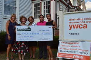 Pentucket Bank presented a check on July 6 to the YWCA Haverhill to kick off its major annual fundraising event, the annual Tribute to Women, to take place October 27, at DiBurro's. (L to R) Renee McGuire, YWCA Site Director; Mary B. O'Brien, YWCA Executive Director; Patricia O'Brien, YWCA Board President; Jose Pino, Marketing and Special Events Coordinator, Pentucket Bank; Katherine Castro, YWCA Board Vice President.